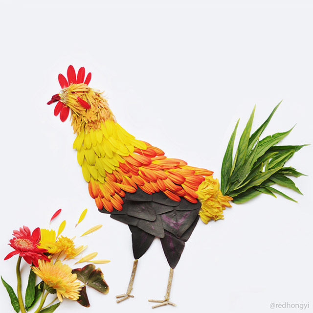 Rooster made of gerberas and leaves