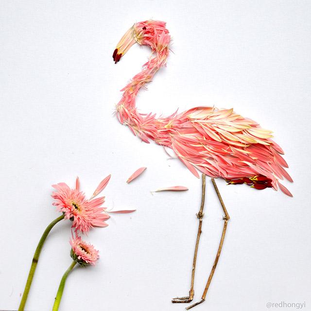 Flamingos made from pink gerberas