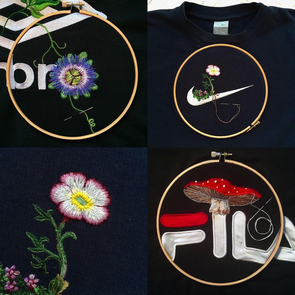 Logos with Embroidered Plants