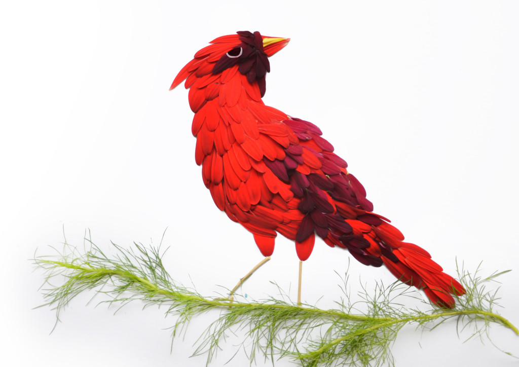 Northern cardinal made of red gerberas and deep purple chrysanthemums with dill