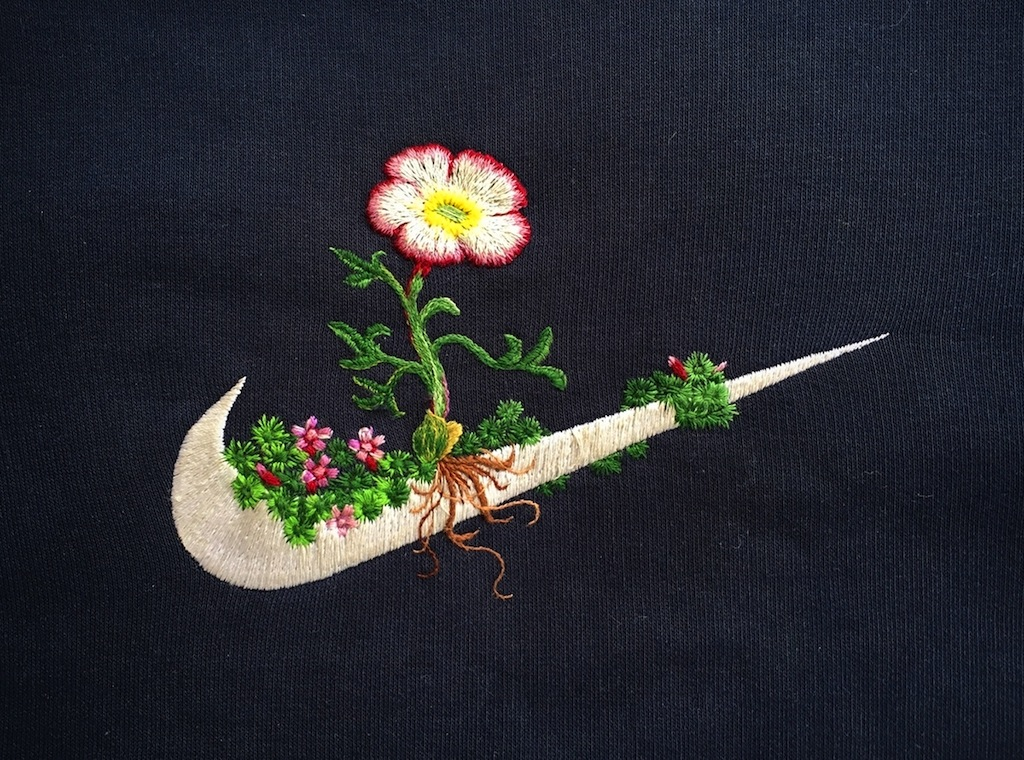 Sportswear Logos with Embroidered Plants